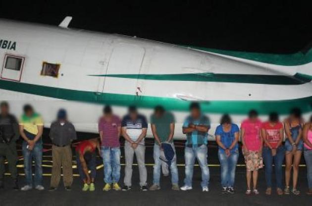 Presuntos miembros de la banda 'los Payasos'.