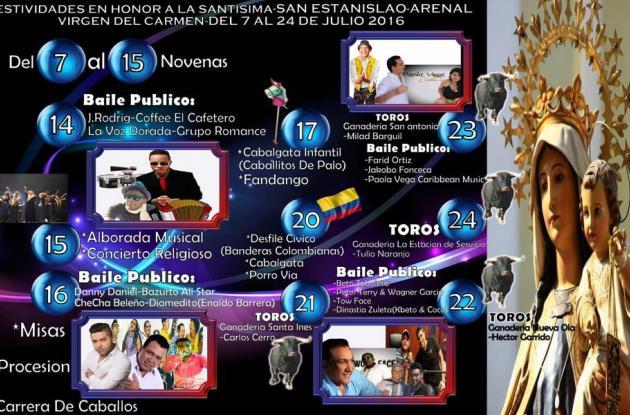 Programación de las fiestas de la Virgen del Carmen en Arenal.