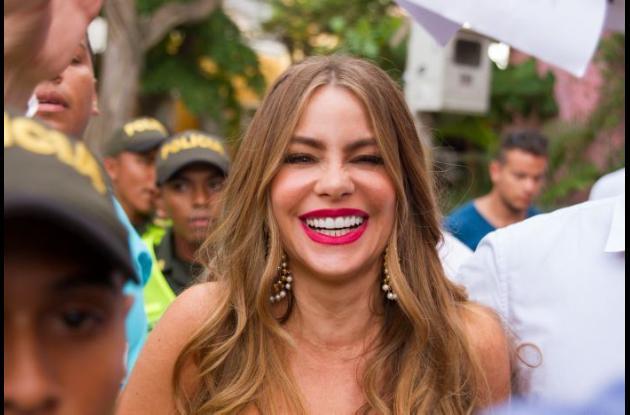 Sofía Vergara durante la filmación en Cartagena.