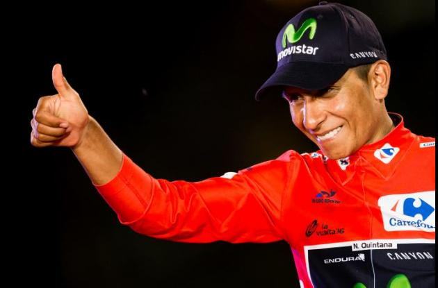 Nairo Quintana celebra su triunfo en la Vuelta a España.