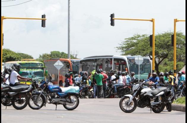 Protestas de los mototaxistas en Cartagena entre la semana del 18 y el 24 de septiembre pasado.