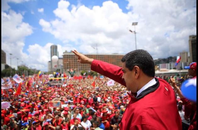 Nicolás Maduro, presidente de Venezuela, en manifestación oficialista.