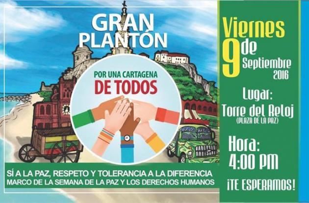 """El plantón es convocado por la fundación """"Cartagena de Todos""""."""