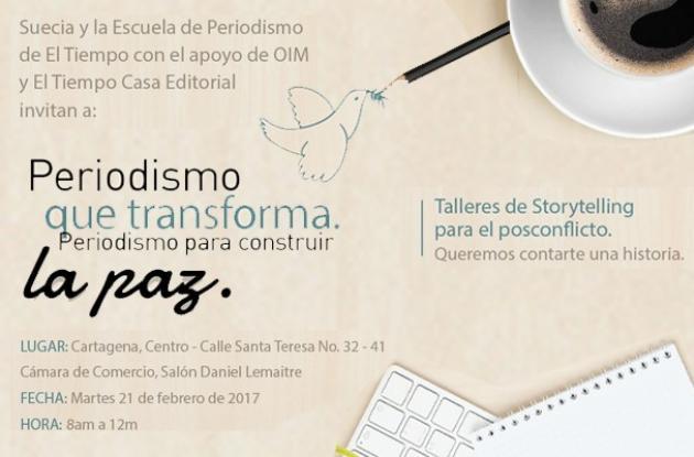 el prximo martes se realizar en cartagena el taller de periodismo de paz
