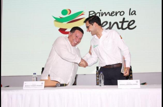 Manuel Vicente Duque, alcalde de Cartagena, y Sergio Londoño Zurek, exalcalde encargado de Cartagena.
