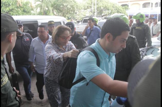 Concejal Jorge Useche; contralora Nubia Fontalvo y el alcalde suspendido Manuel Duque.
