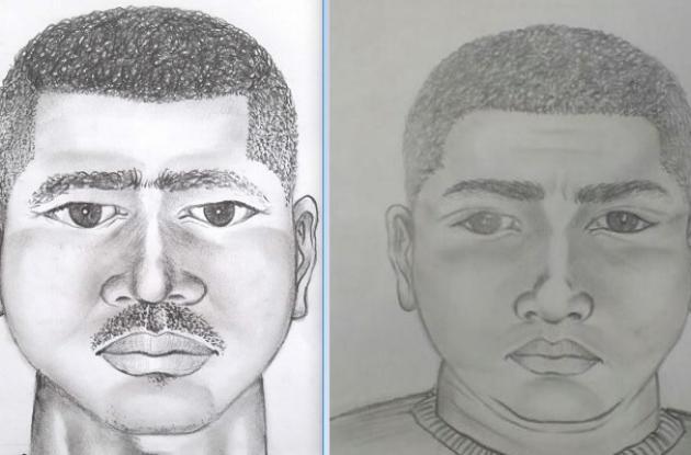 Retratos hablados. El de la izquierda, el del taxista que habría violado a una venezolana en Bazurto. El otro, el de un mototaxista que violó a una española en Pasacaballos.