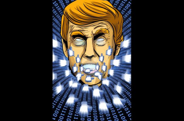 Ilustración Donald Trump Facebook Cambridge Analytica
