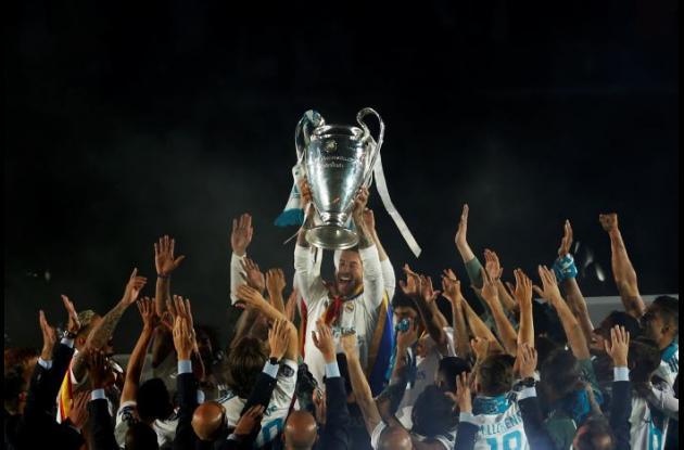 Celebración del Real Madrid tras ganar la final de la Liga de Campeones 2017-2018