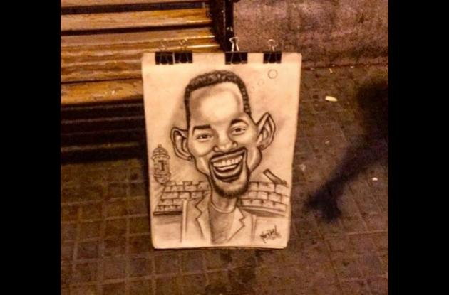 Retrato hecho en Cartagena del rostro de Will Smith.