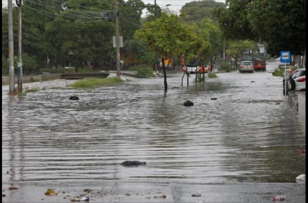 Calle inundada en El Socorro