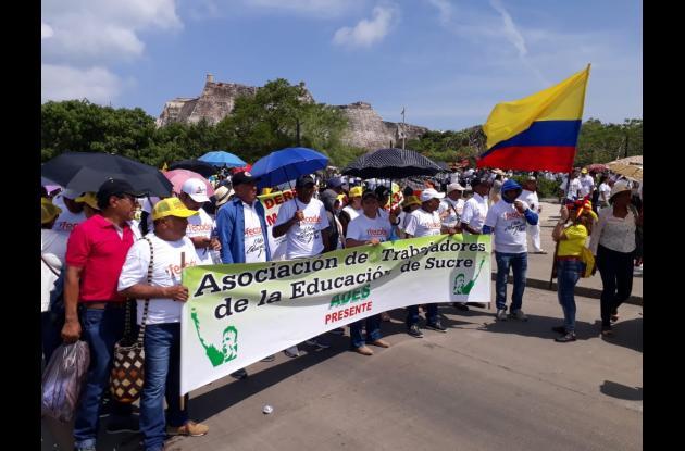 Protestas de maestros y estudiantes del Caribe convocada por Fecode. Cartagena, julio 25-2018