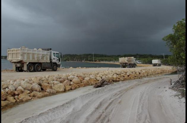 Camiones en la vía