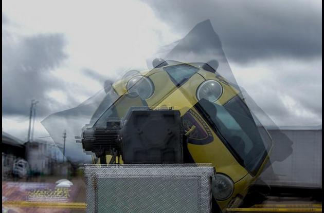 simulador vial de accidente en movimiento
