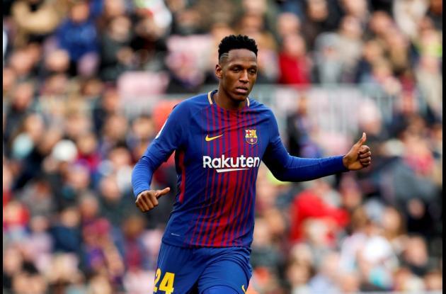 Yerry Mina defensor central colombiano. Jugador del Barcelona. 2018.