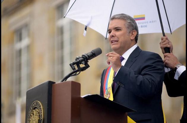 Iván Duque habla en el acto de posesión en la Plaza de Bolívar el 7 de agosto