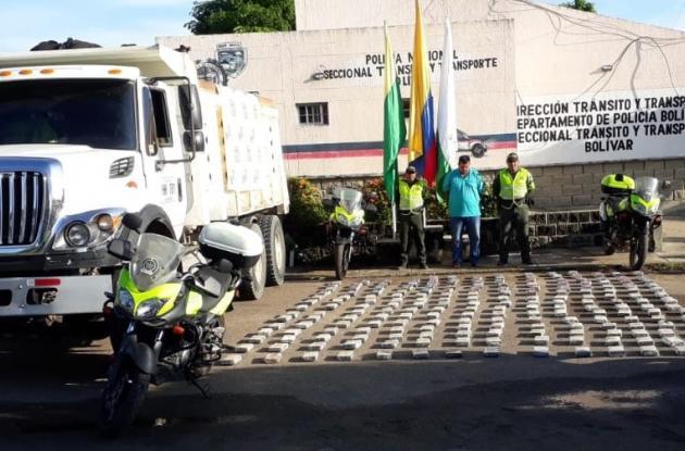 250 kilos de coca hallados en una volqueta en Arjona.