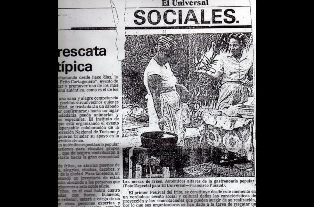 Recorte de prensa que registra el Primer Festival del Frito.