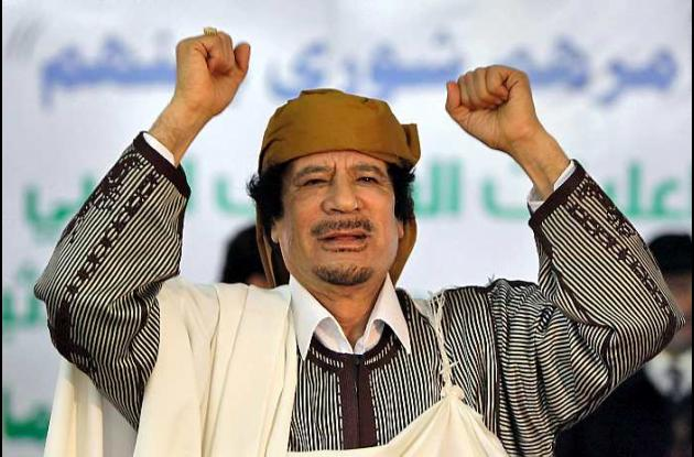 Moammar Gadafi en Libia,  en marzo de  2011