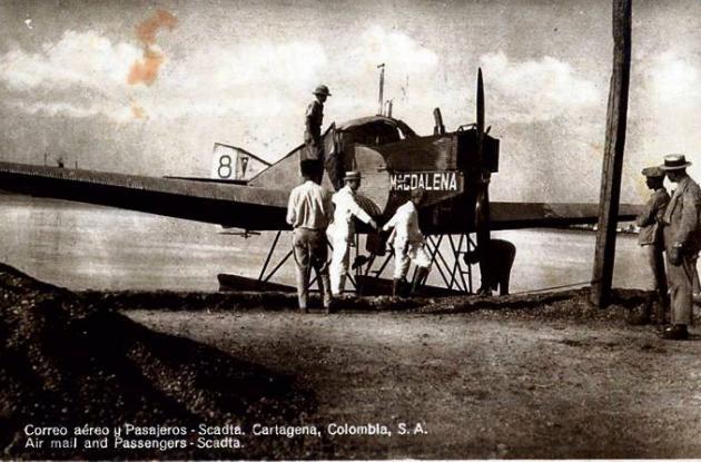 1921. Avioneta de Scadta en Bocagrande.