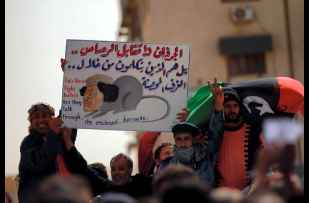 Manifestantes en Libia