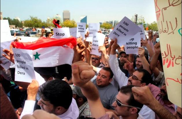 Manifestantes en Siria