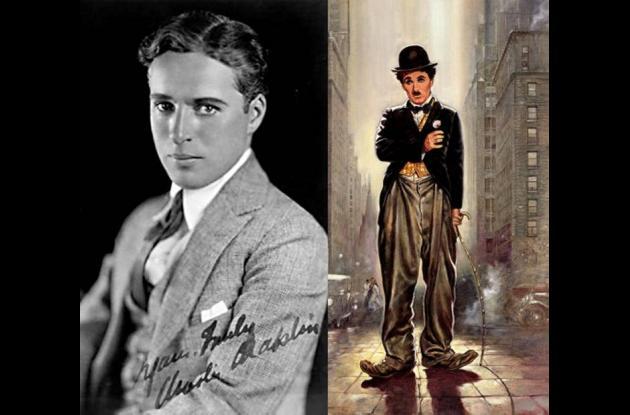El joven Charles Chaplin junto a su personaje.