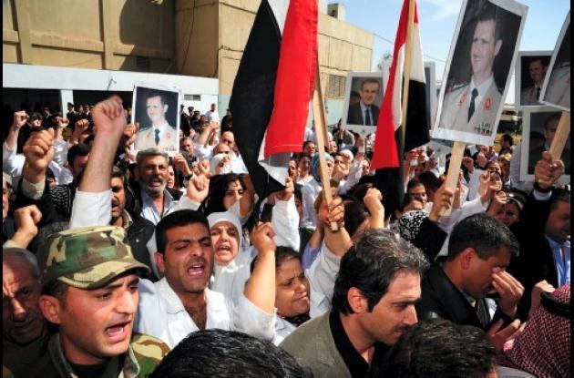 Protestantes en Siria
