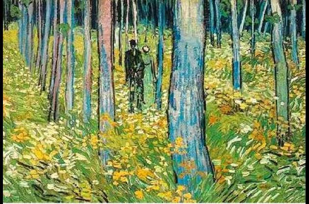 """""""Maleza con dos figuras"""", de Van Gogh."""