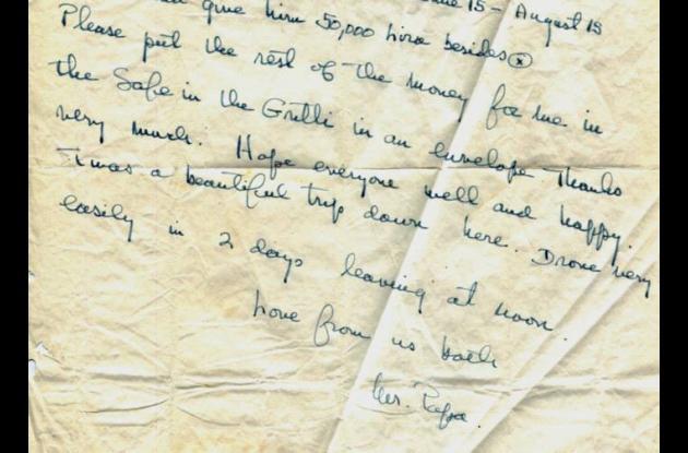 parte de una carta de 6 de agosto 1953, escrita a por Ernest Hemingway