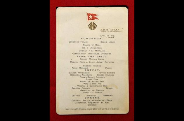 El menú del Titanic del 14 de abril de1912.