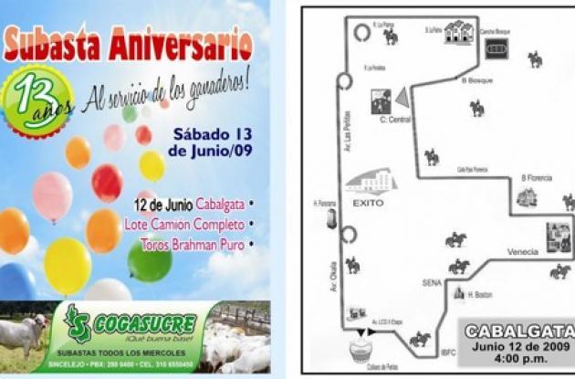 Afiche promocional del XIII aniversario de Cogasucre y recorrido de la cabalgata que se realiza hoy.