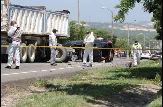 Por el fuerte impacto, la camioneta, de placa BPS 539, en la que iban las víctim