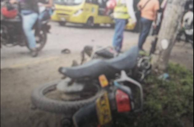 Motocicleta involucrada en accidente registrado en Montería.