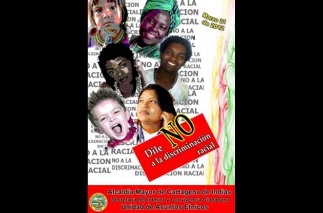 Afioche promocional del Día Internacional Contra la Discriminación Racial.