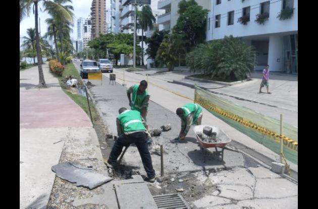 Arreglo de vías en Bocagrande