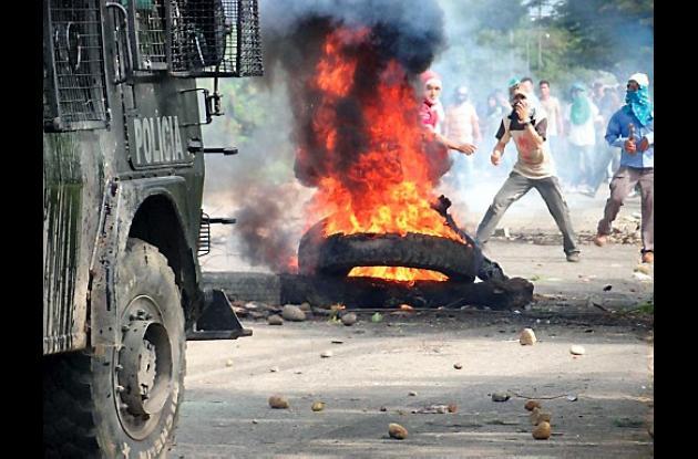 Protestas violentas que se presentaron el miércoles en Campo Rubiales.