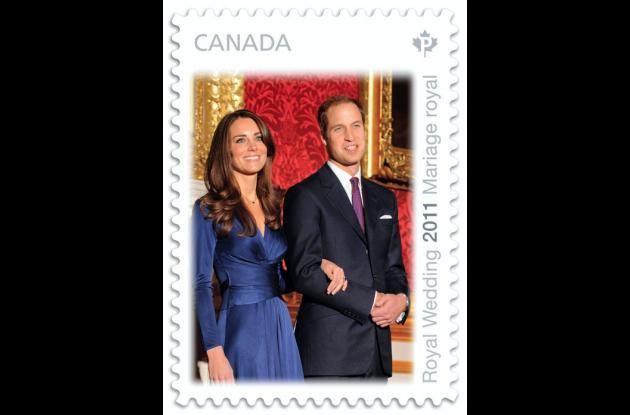 Estampilla del Correo de Canadá alusiva a la boda real.