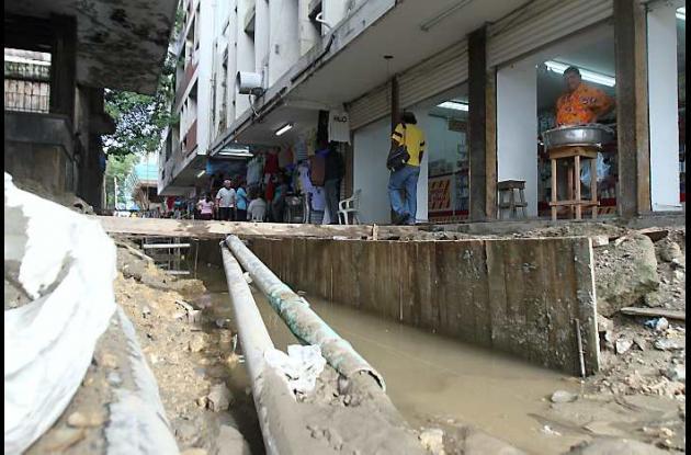 Canalización pluvial en el Centro Histórico de Cartagena