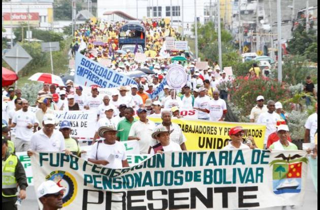 Marcha de centrales obreras en Cartagena