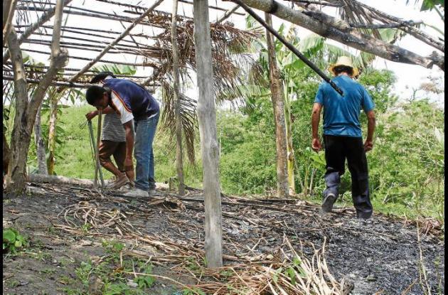 Cepo de indigenas quemado .