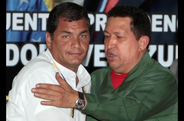 El presidente Hugo Chávez rafael correa