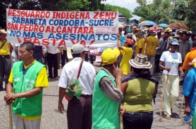 Los indígenas de Córdoba han sido amenazados por miembros de bandas criminales.