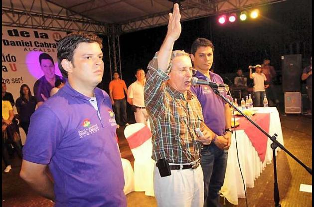 El expresidente Álvaro Uribe en el cierre de campaña de candidatos  en Córdoba