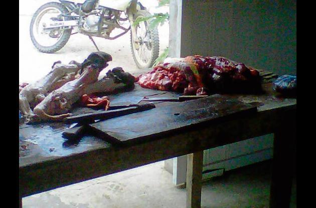 Carne incautada por la policía en Rabolargo.