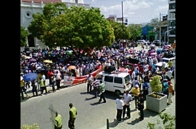 Marcha de maestros ayer en Montería.