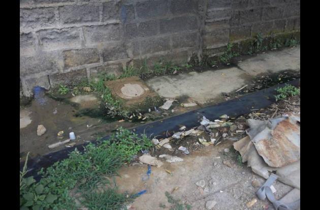 Aguas negras alrededor del colegio.