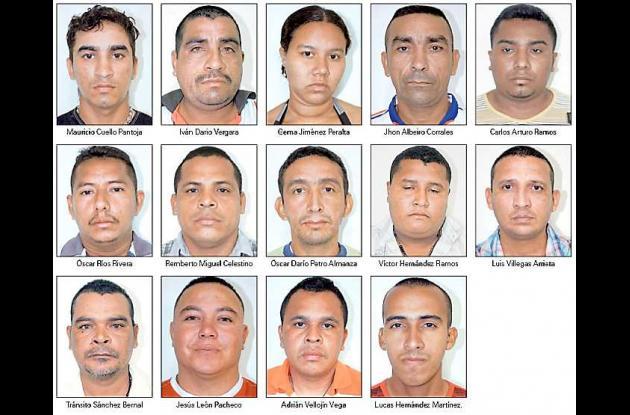 15 capturados que serán trasladados a Bogotá.