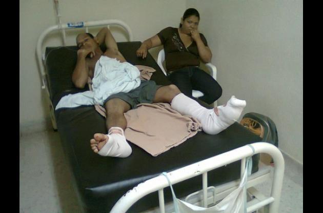 José Luis Bertel herido cuando trabajaba con una guadañadora