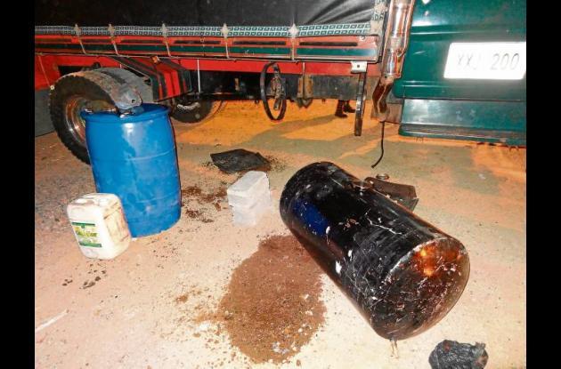 tanques  donde se transportaba la cocaína líquida.